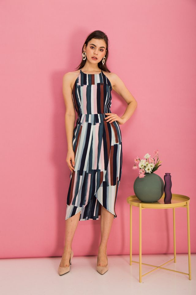 Jorma Paintbrush Halter Dress in Navy