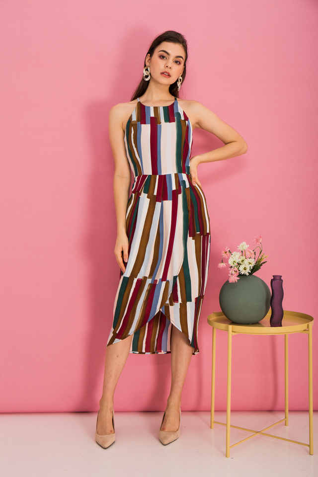 Jorma Paintbrush Halter Dress in Plum