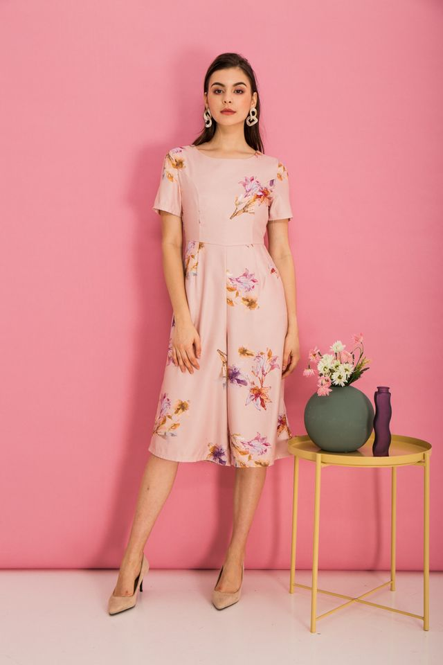Brenna Floral Wide Leg Jumpsuit in Peach