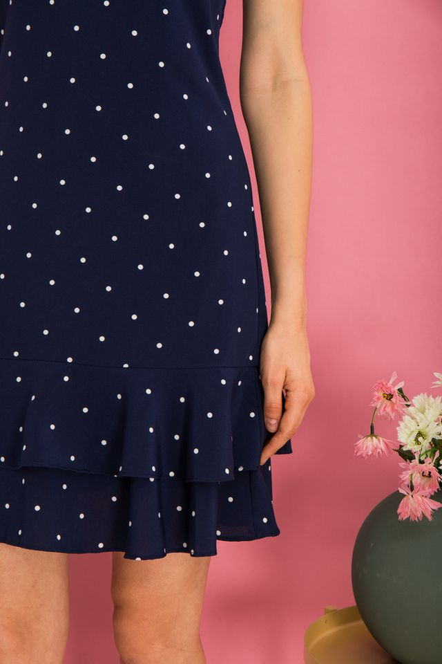 Merie Polka Dot Dropwaist Dress in Navy