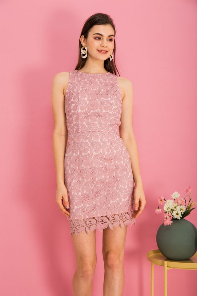 Olier Crochet Sheath Dress in Pink (XS)