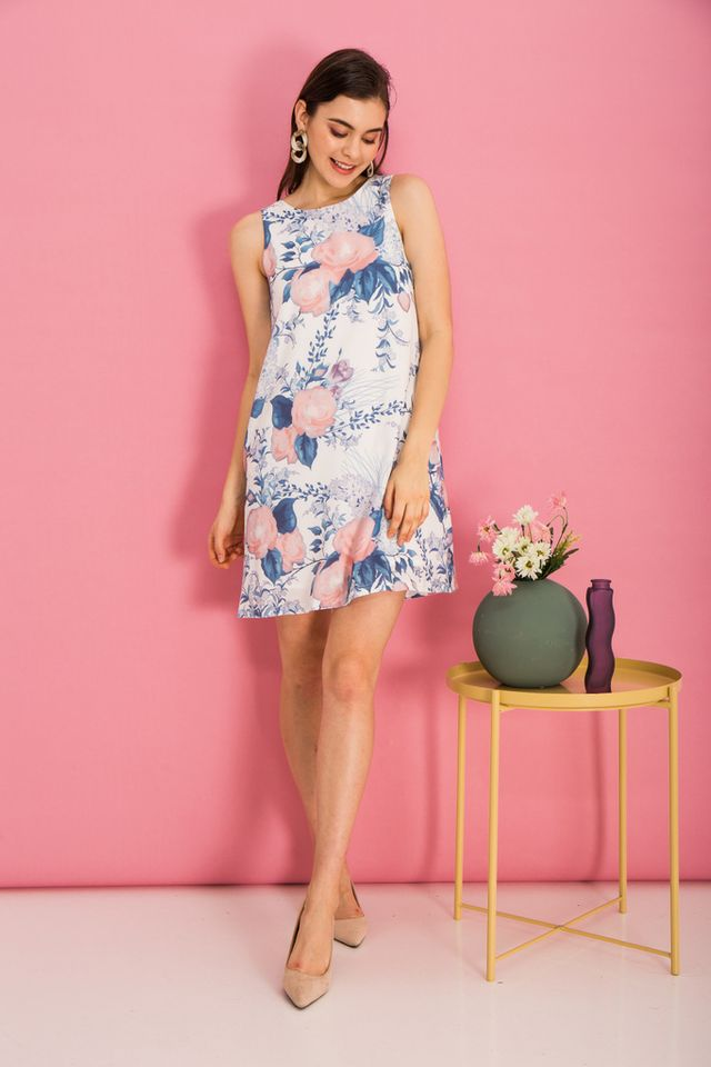 Bethanne Floral Trapeze Dress in White