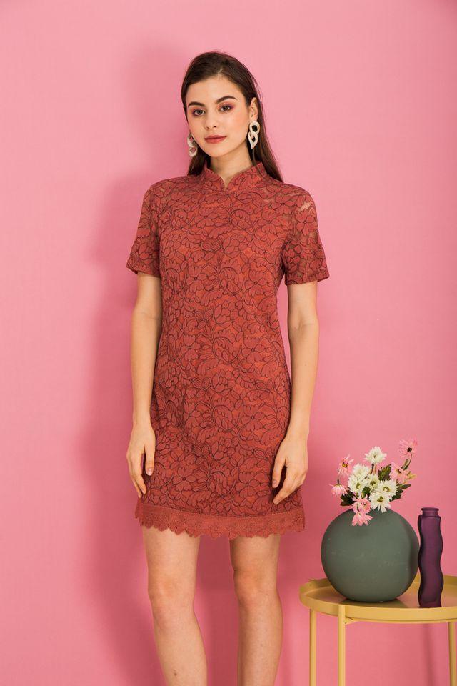 Grieta Floral Lace Shift Dress in Rouge