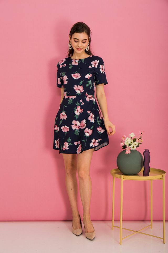 Megyn Floral Folded Sleeve Dress in Navy (XS)