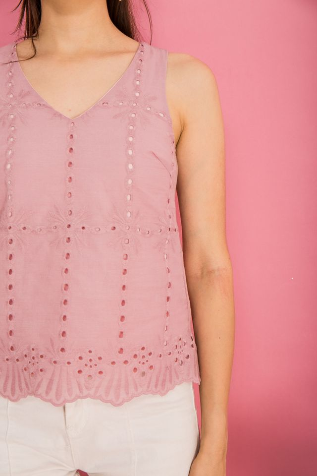 Delise Eyelet Scallop Hem Top in Pink (XS)