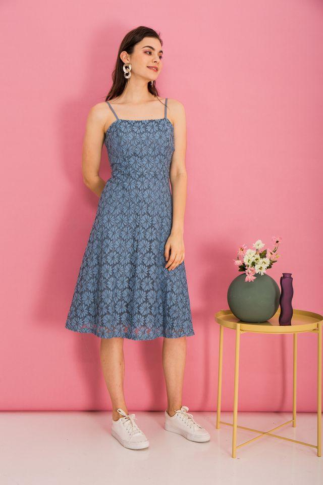 Anitha Lace Midi Dress in Steel Blue