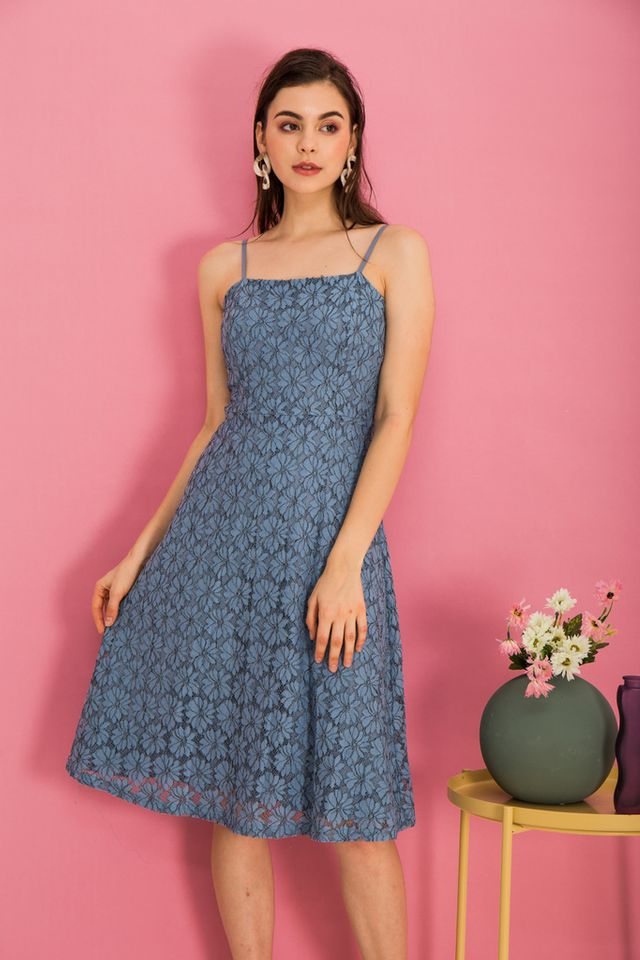 Anitha Lace Midi Dress in Steel Blue