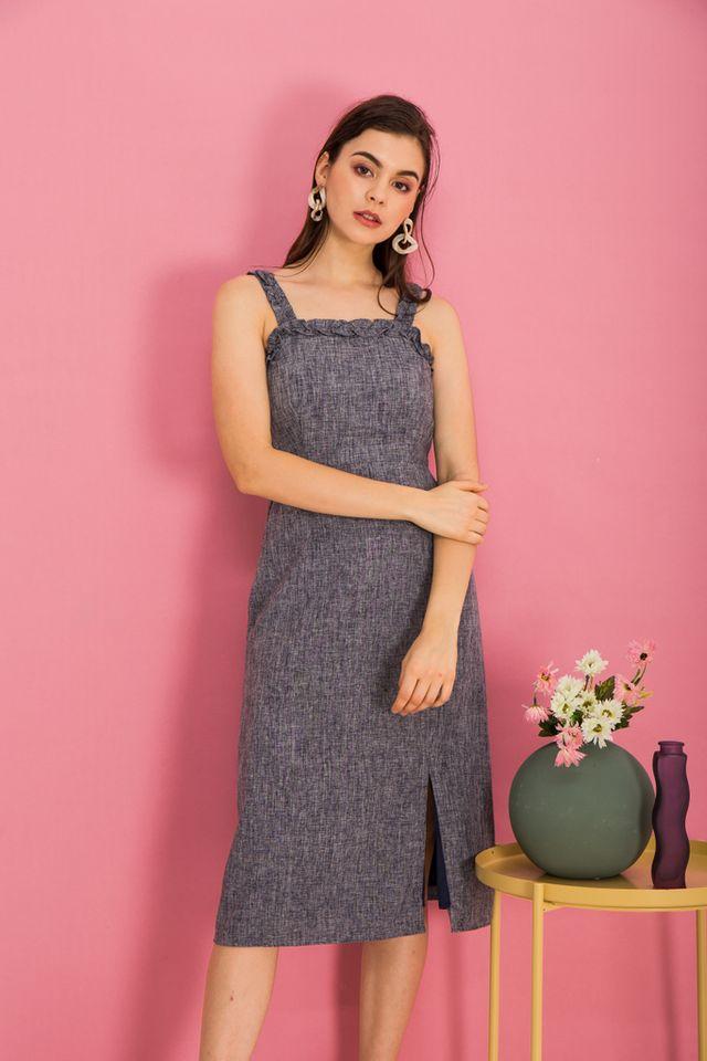 Yana Ruffles Slit Midi Dress in Navy