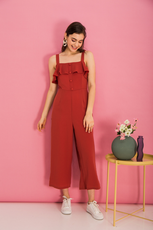Marlin Ruffles Button Jumpsuit in Melon Orange