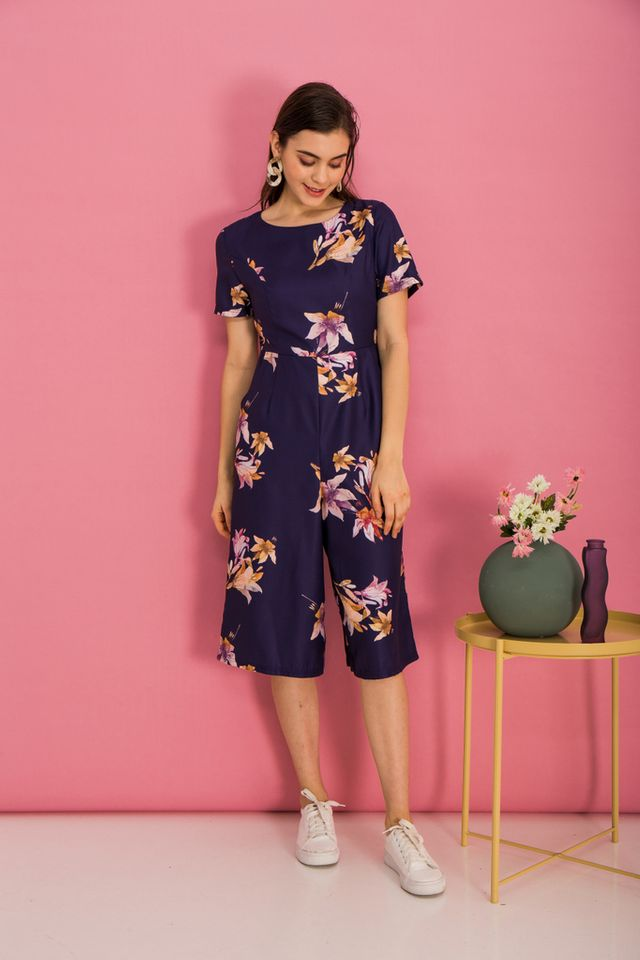 Brenna Floral Wide Leg Jumpsuit in Dark Indigo