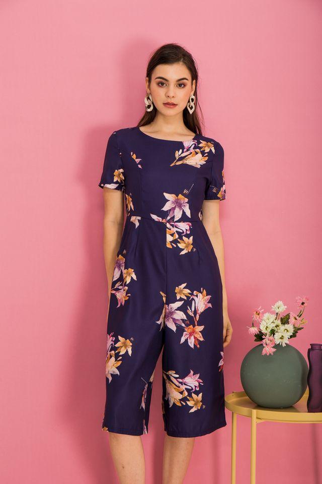 Brenna Floral Wide Leg Jumpsuit in Dark Indigo (XS)