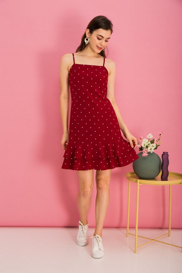 Merie Polka Dot Dropwaist Dress in Red