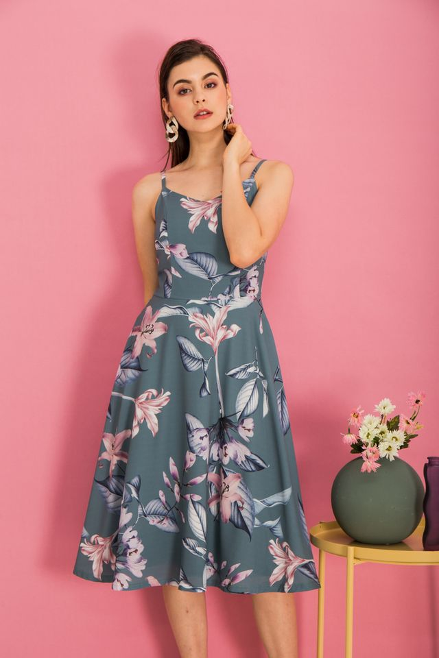 Cerulia Floral Flare Midi Dress in Teal Green