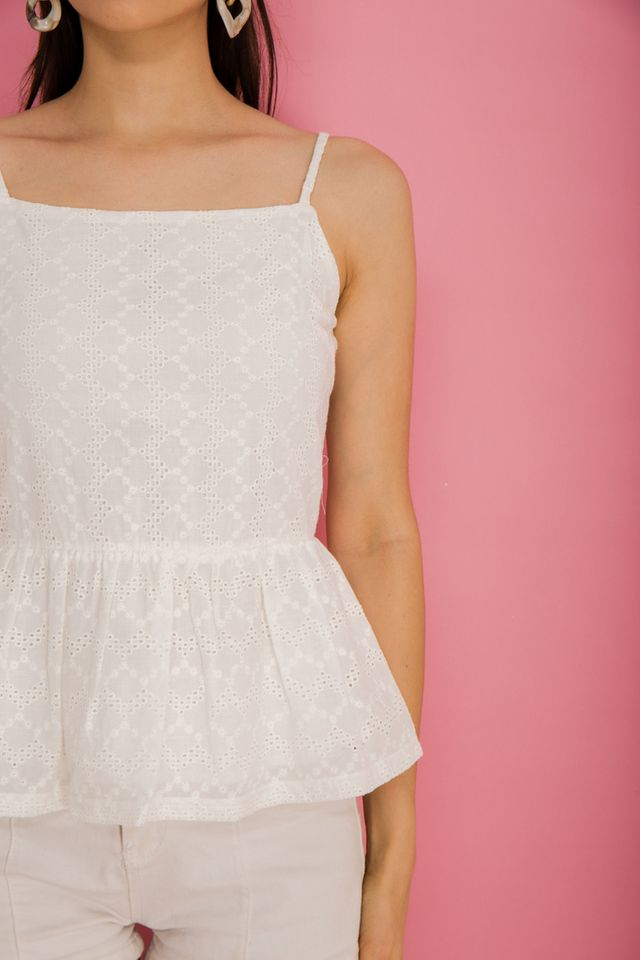 Ivette Eyelet Babydoll Top in White
