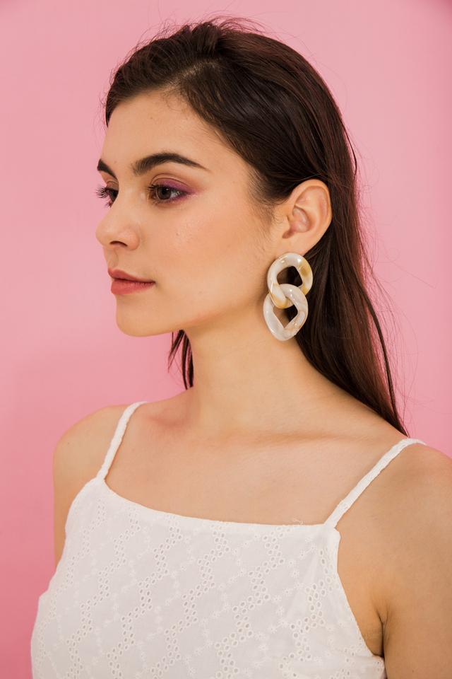 Armande Round Marble Earrings in Brown