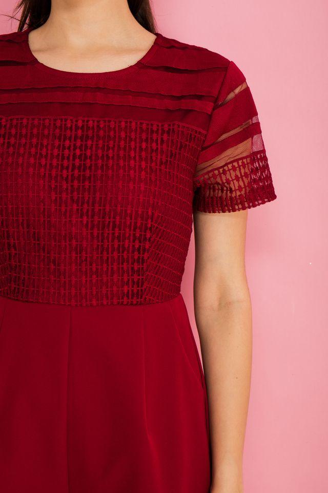 Celio Mesh Textured Romper in Red