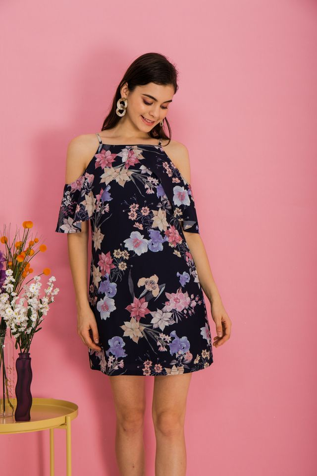 Loreta Floral Cold Shoulder Dress in Navy