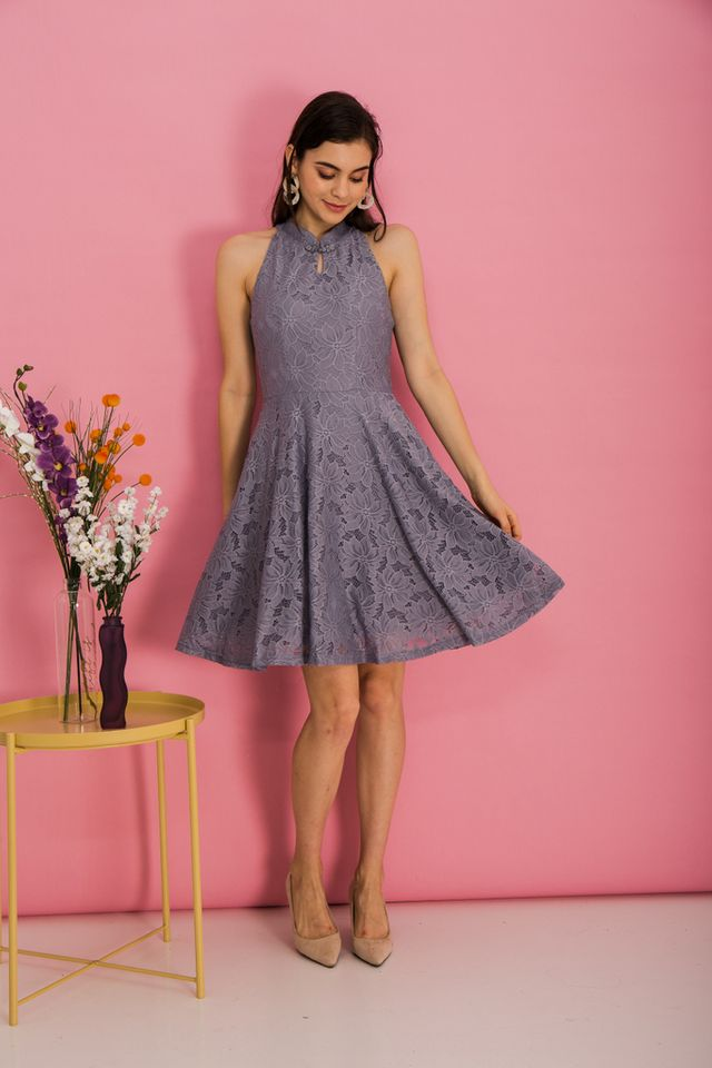Harriet Lace Skater Dress in Grey