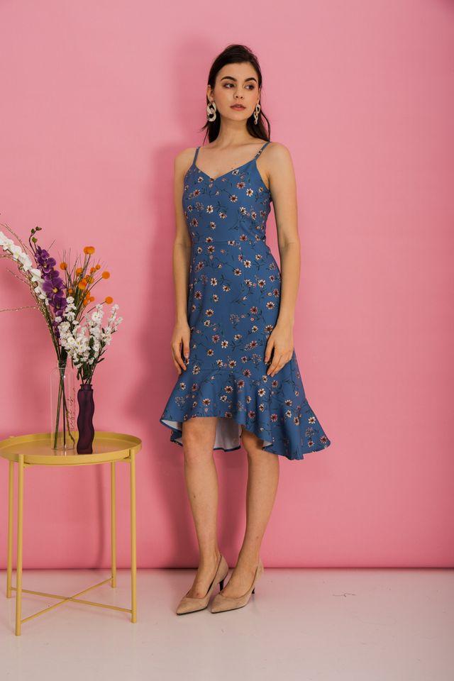 Callista Floral Asymmetrical Hem Dress in True Blue