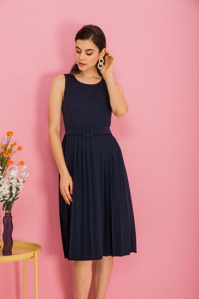Meryl Belted Midi Dress in Navy