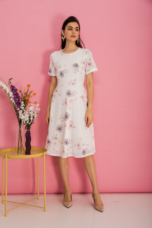 Alyena Floral Flare Midi Dress in White