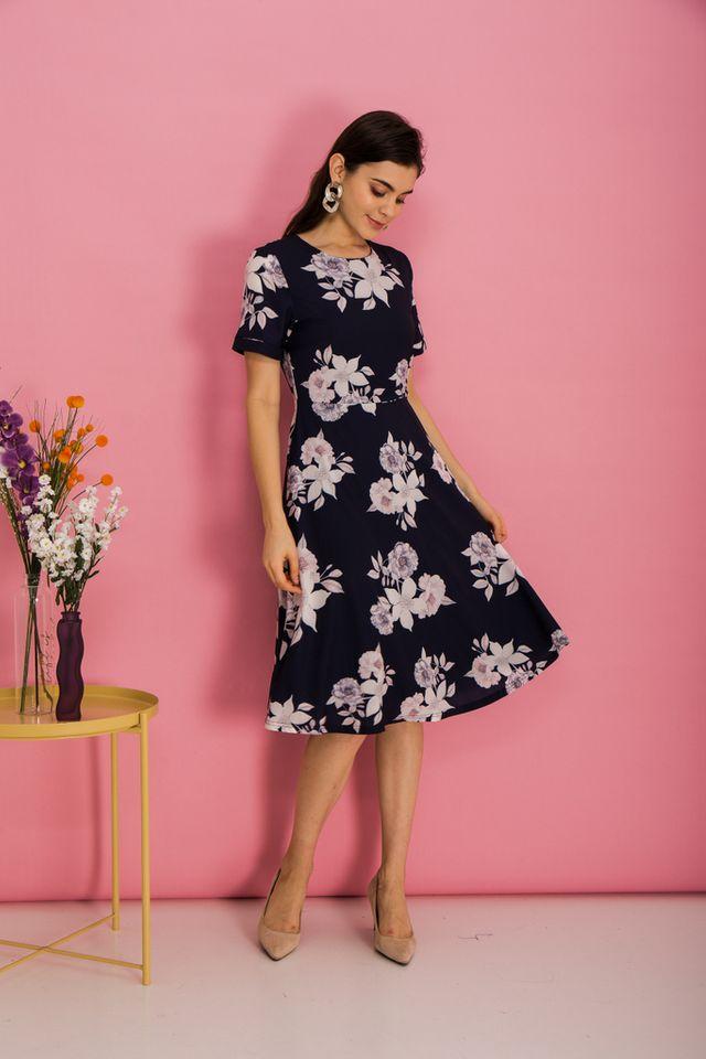 Alyena Floral Flare Midi Dress in Navy