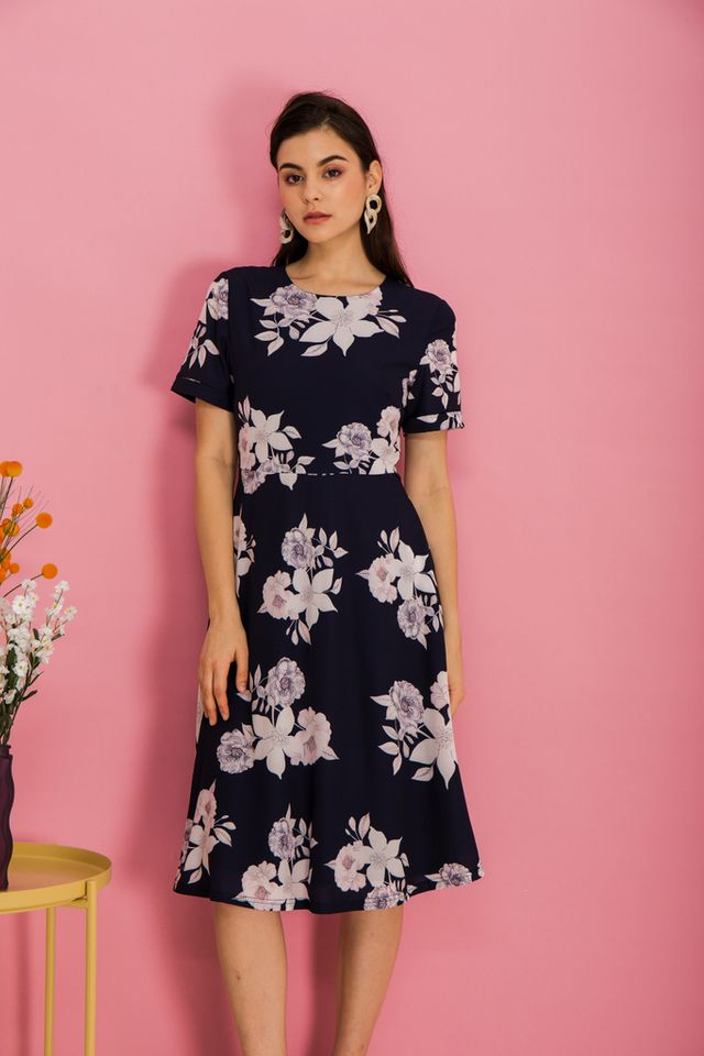 Alyena Floral Flare Midi Dress in Navy
