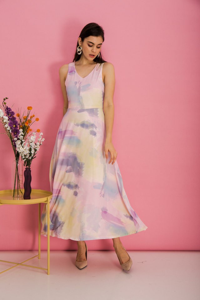 Louella Watercolour Maxi Dress in Pink (XS)