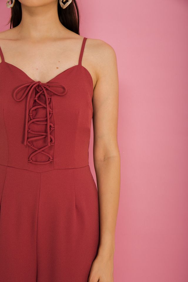Lexi Lace-up Jumpsuit in Rouge