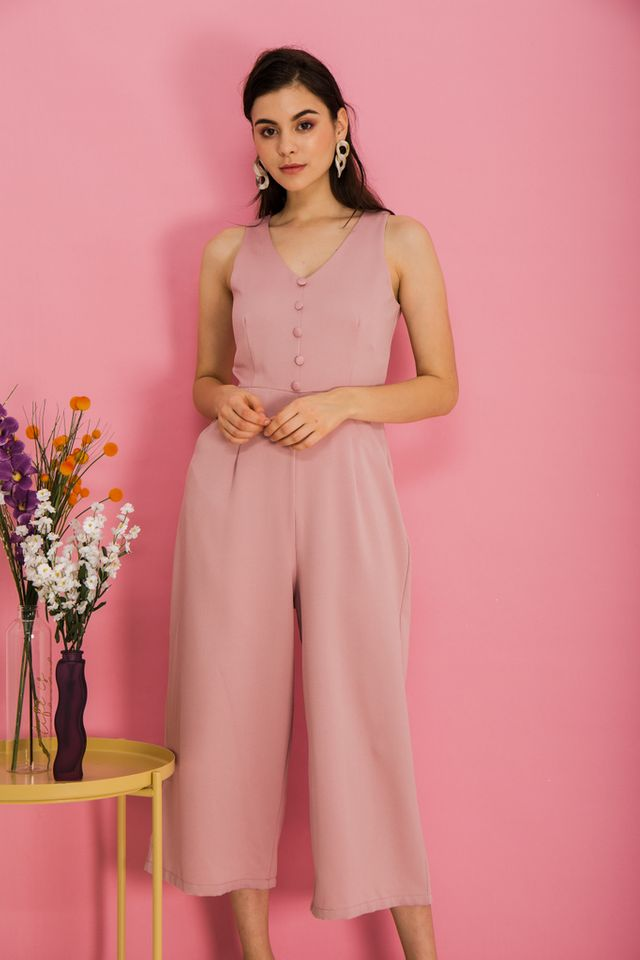 Mirra Basic Button Jumpsuit in Pink