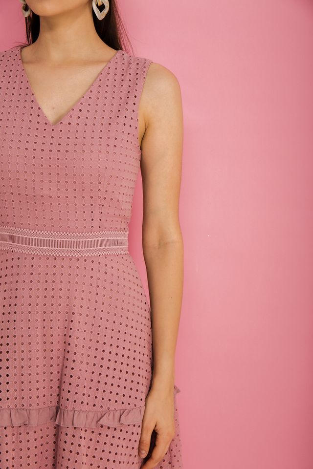 Millay Eyelet Skater Dress in Dusty Pink (XS)