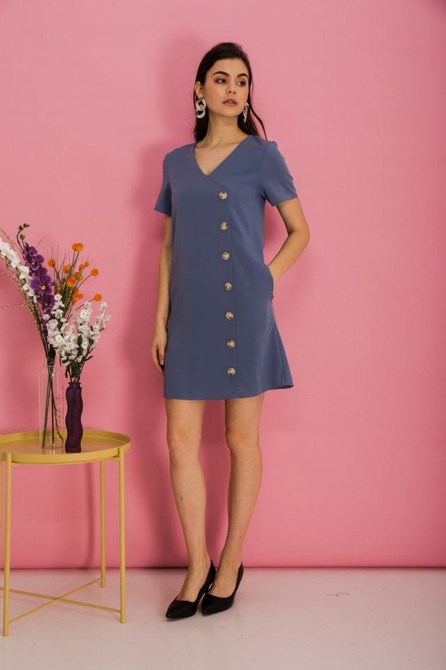 Castiel Button Down Shift Dress in Steel Blue