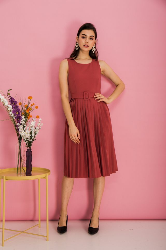 Meryl Belted Midi Dress in Rouge