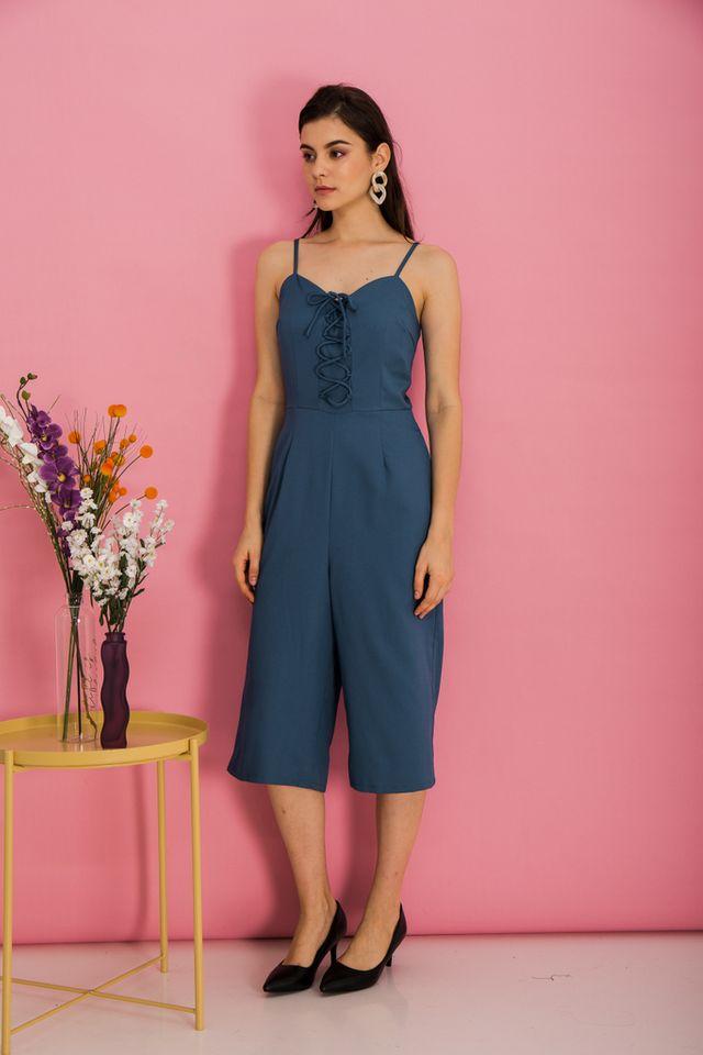 Lexi Lace-up Jumpsuit in True Blue