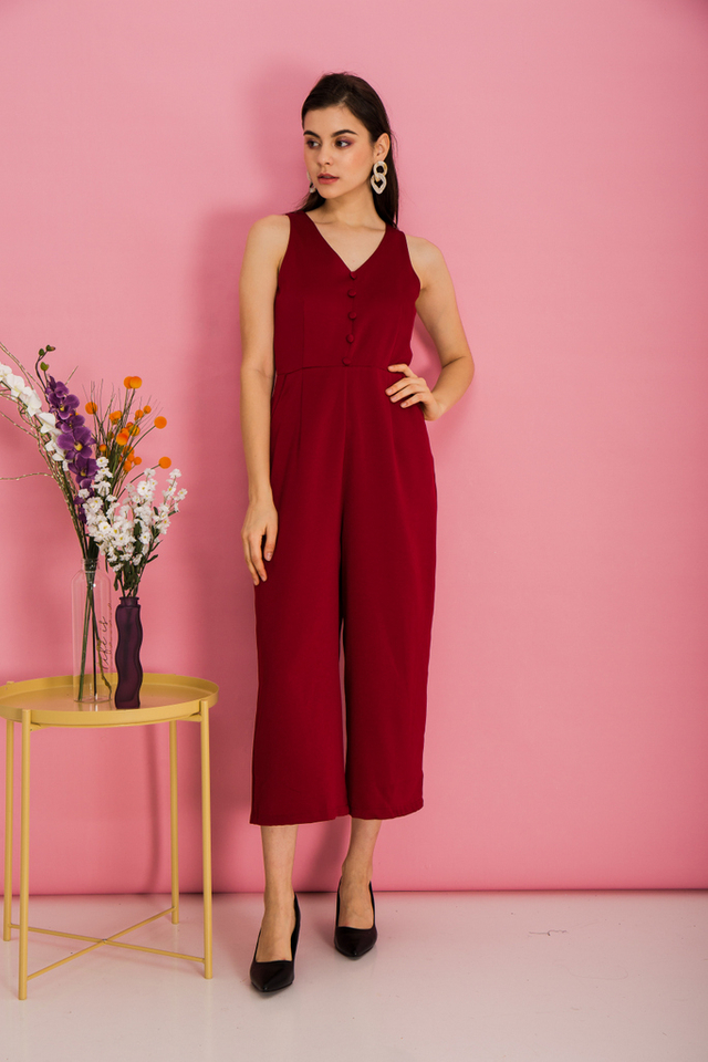 Mirra Basic Button Jumpsuit in Red