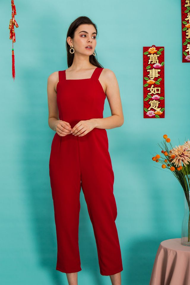 Alexina Basic Maxi Jumpsuit in Red