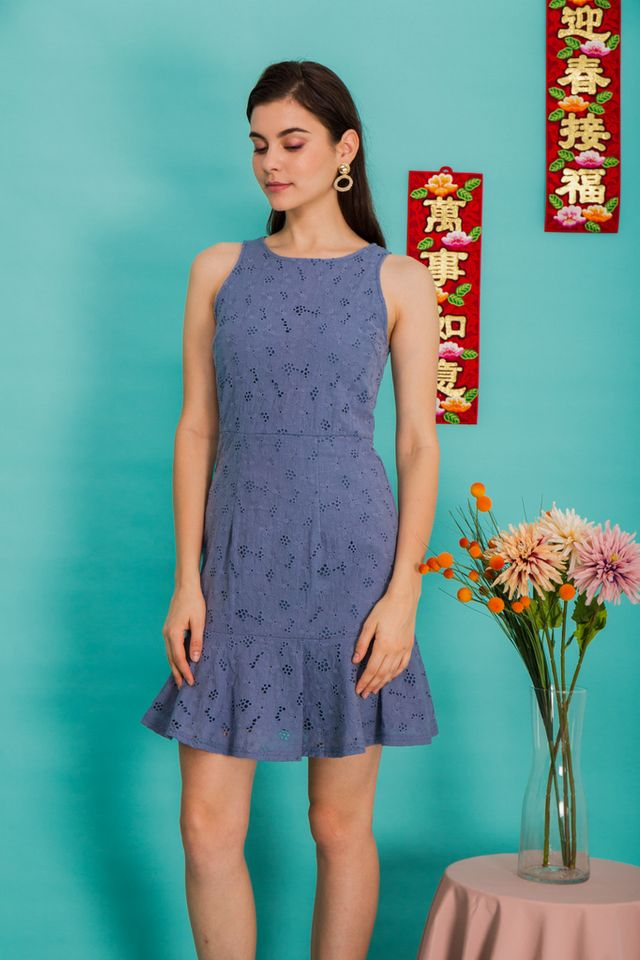 Gianna Floral Eyelet Dress in Steel Blue (XS)