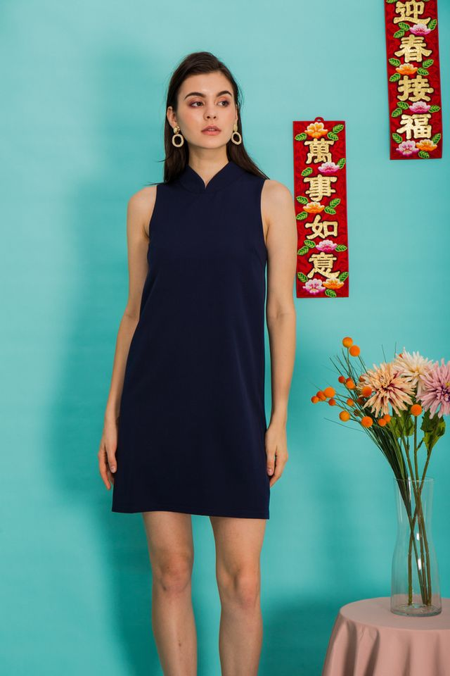 Breena Mandarin Collar Trapeze Dress in Navy (XS)