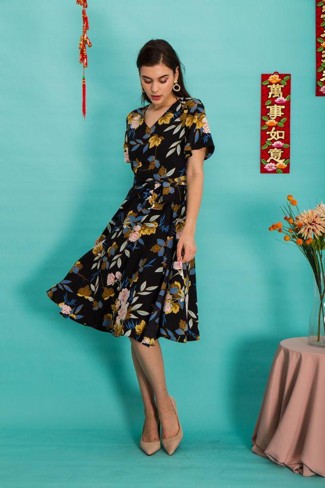 Marlow Floral Midi Dress in Black