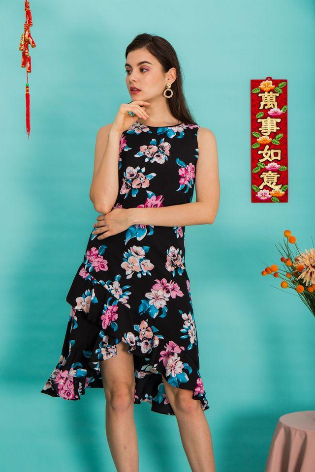 Mona Floral Asymmetrical Hem Dress in Black