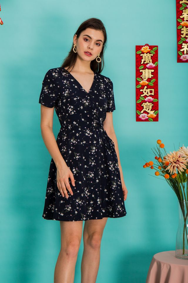 Valentia Floral Skater Dress in Navy