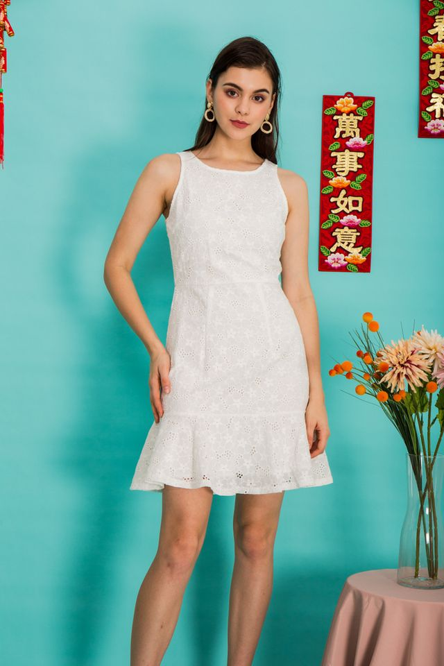 Gianna Floral Eyelet Dress in White