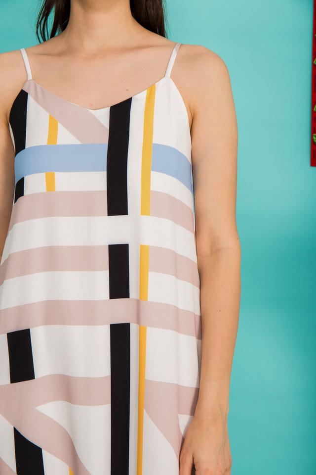 Callen Striped Slip Maxi Dress in Multi-colour