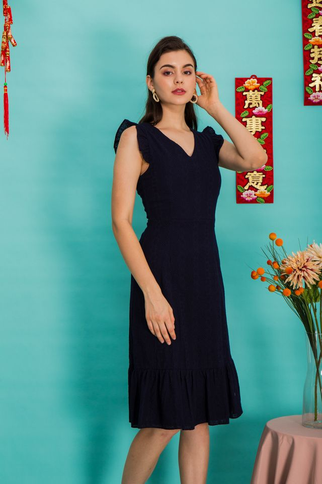 Jayce Embroidered Midi Dress in Navy