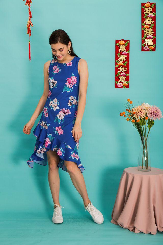 Mona Floral Asymmetrical Hem Dress in Cobalt Blue