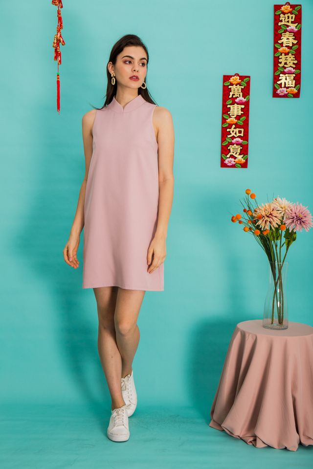 Breena Mandarin Collar Trapeze Dress in Dusty Pink
