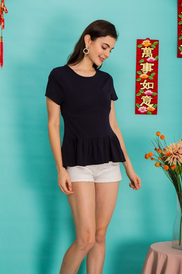 Kasia Basic Babydoll Top in Navy