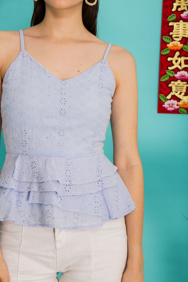 Ailana Eyelet Babydoll Top in Periwinkle (XL)