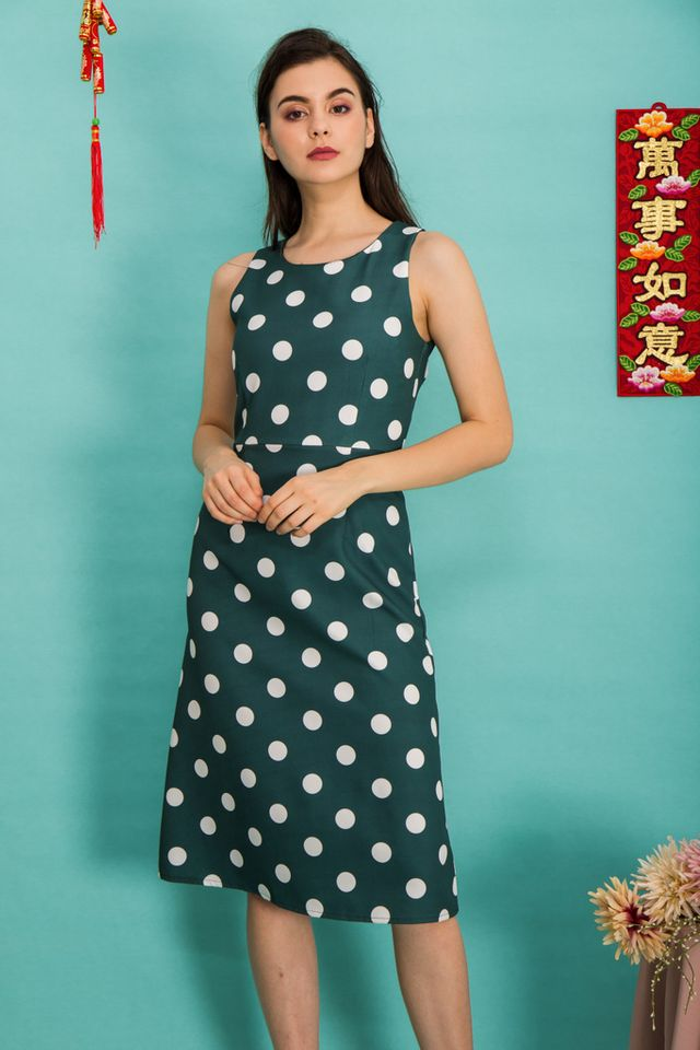 Parisa Polka Dot Midi Dress in Forest