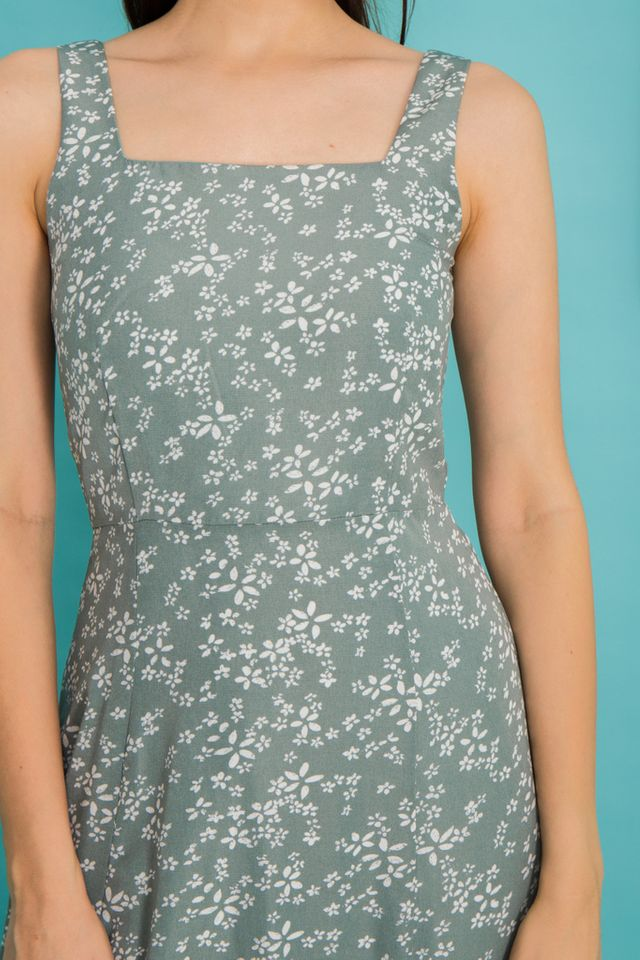 Lucie Floral Pinafore Dress in Sage
